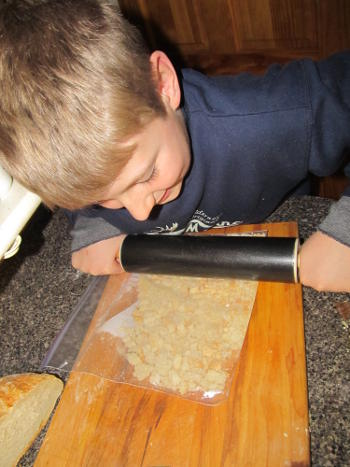 bread crumb making with rolling pin